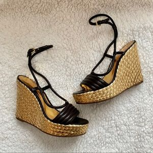 Coach Black and Gold Wedges